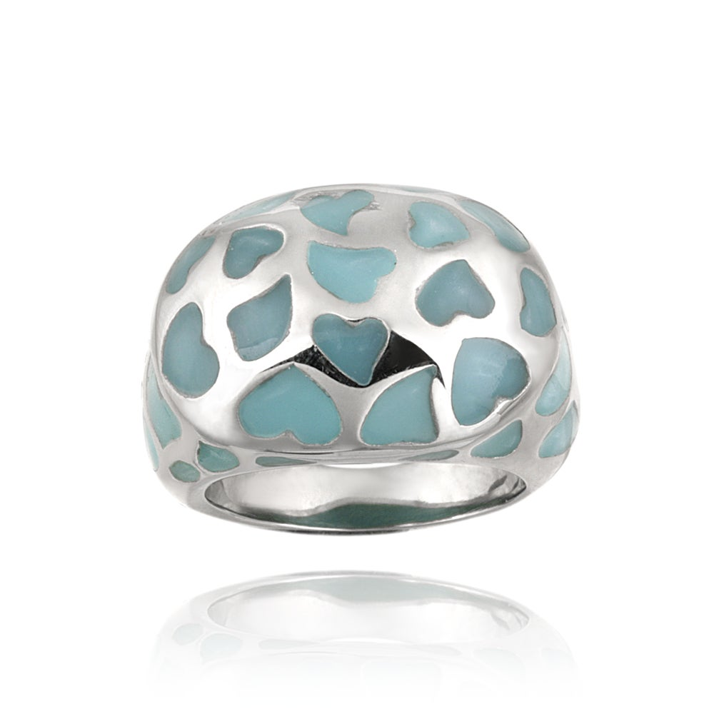 Glitzy Rocks Stainless Steel Turquoise Colored Enamel Heart Ring