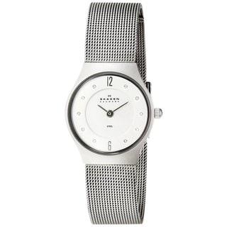 Skagen Women's 233XSSS1 Slim Matte Round Silvertone Bracelet Watch