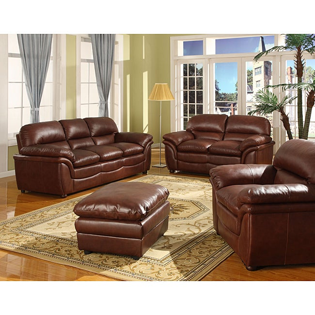 Redding Cognac 2-Piece Brown Leather Modern Sofa Set
