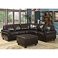 Hammond 4-piece Brown Leather Modern Sectional Sofa