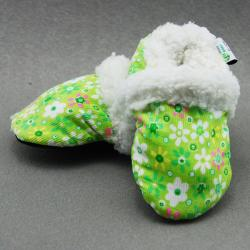 Green Flower Soft Sole Baby Shoes