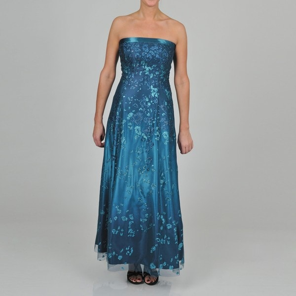 NV Couture Women's Glitter Teal/ Navy Ball Gown