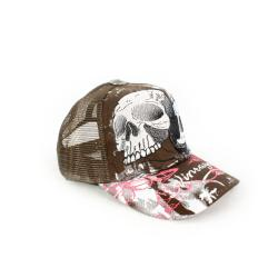 Faddism Unisex Brown Twin Skull Fashion DesignTrucker Cap