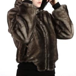 United Face Women's Reversible Hooded Lambskin Leather Jacket
