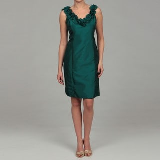 London Times Women's Pine Ruffled Shantique Sheath Dress