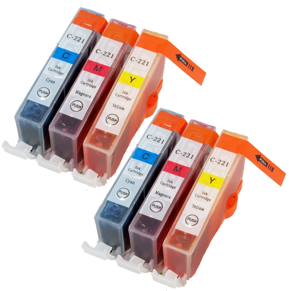 Sophia Global CLI-221 Cyan/ Magenta/ Yellow Ink Cartridges (Pack of 6) (Remanufactured)