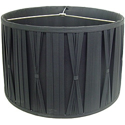 Black Cinched Pleats Round Shade