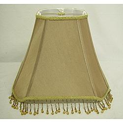 Square Tan Beaded Lamp Shade