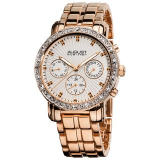 August Steiner Women's Rose-Tone Swiss-Quartz Multifunction Crystal Watch