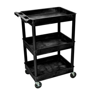 Luxor Black 3 Tub Shelf Utility Cart