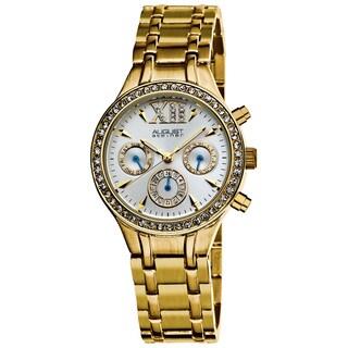 August Steiner Women's Crystal Multifunction Goldtone Bracelet Watch