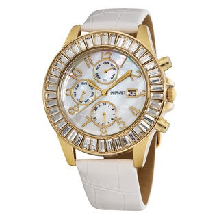 August Steiner Women's White-Strap Swiss-Quartz Baguette Bezel Watch