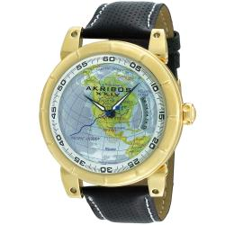 Akribos XXIV Men's Automatic Globe Leather Strap Watch