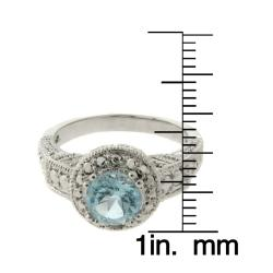 Dolce Giavonna Brass Blue Topaz and Diamond Accent Ring