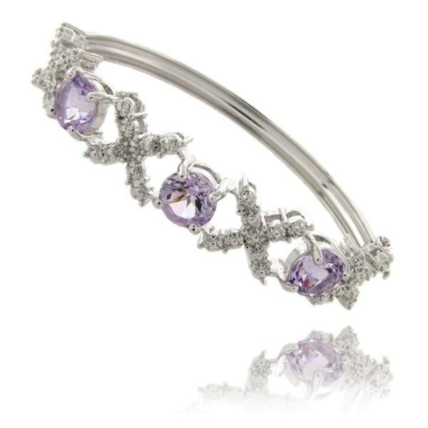 Dolce Giavonna Silverplated Amethyst and Diamond 'XO' Bracelet (5 1/4ct TGW)