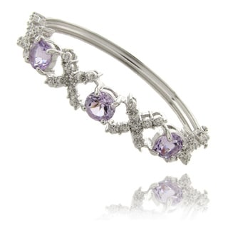 Dolce Giavonna Silverplated Amethyst and Diamond 'XO' Bracelet (5 1/4ct TGW)