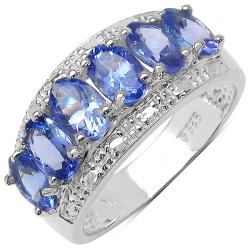 Malaika Sterling Silver Genuine Tanzanite Ring (2 3/5ct TGW)