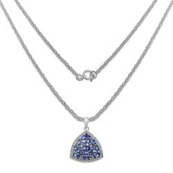 Malaika Sterling Silver Tanzanite Cluster Trillion-shaped Necklace