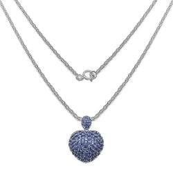 Malaika Sterling Silver Tanzanite Cluster Puffed Heart Necklace