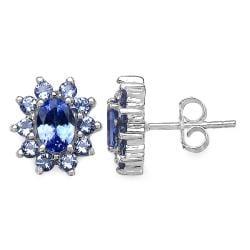 Malaika Sterling Silver Tanzanite Floral Earrings