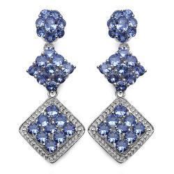 Malaika Sterling Silver Tanzanite Earrings (4 7/8ct TGW)