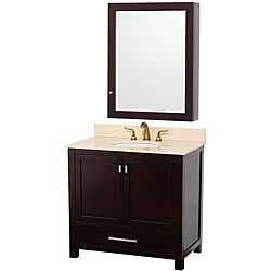 Wyndham Collection Abingdon Espresso Solid Oak Single Bathroom Vanity Set - Ivory Marble / Med Cab (36 inch)