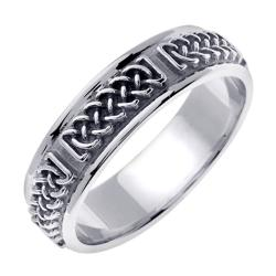 14k White Gold Men's Braided Fancy Wedding Band
