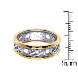 14k Two-tone Gold Men's Celtic Fancy Wedding Band