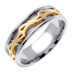 14k Two-tone Gold Men's 7mm Celtic Wedding Band