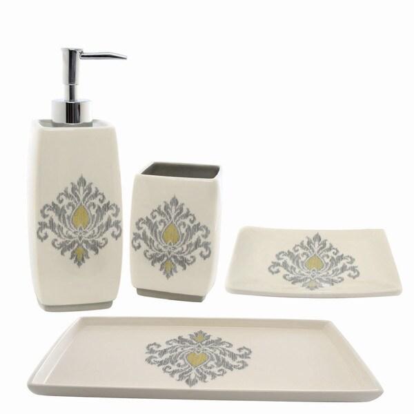Waverly bedazzled gray ceramic bath accessory 4 piece set for Grey bathroom accessories set