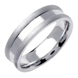 14k White Gold Men's Indented Fancy Indent Wedding Band