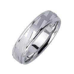 14k White Gold Men's Zigzag Fancy Wedding Band