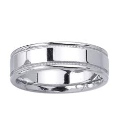14k White Gold Men's Milligrain Fancy Wedding Band
