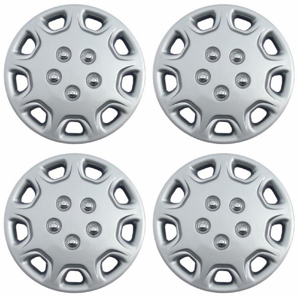 Chrome/Silver 14-Inch ABS Hub Caps (Set of Four)