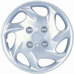 Seven Whorl Design Silver ABS 14-Inch Hub Caps (Set of 4)