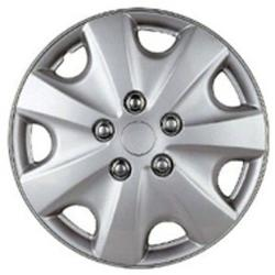 Seven Spoke Design Silver ABS 14-Inch Hub Caps (Set of 4)