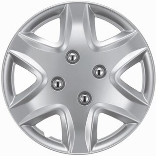 Six Spoke Design Silver ABS 14-Inch Hub Caps (Set of 4)