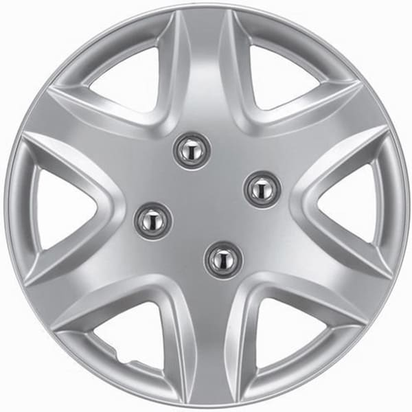 Six Spoke Design Silver ABS 14-Inch Hub Caps (Set of 4)