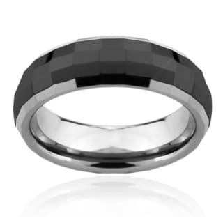 Men's Tungsten Carbide Multi-square Faceted Two-tone Ring (8 mm)