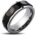 Tungsten Carbide Black Multi-faceted Prism Rhombus Cut Spinner Ring