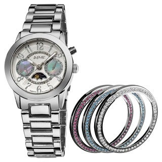 August Steiner Women's Swiss Quartz Multifunction Bracelet Watch with Interchangeable Bezels
