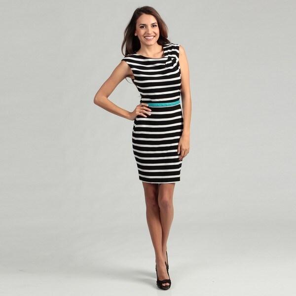 Calvin Klein Women's Black/ White Stripe Belted Dress