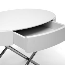 Coquille White Modern Oval Coffee Table with Drawer