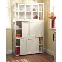 Antique White Sliding Door Stackable Cabinet