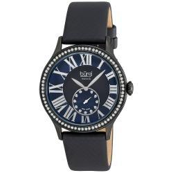 Burgi Women's Black Dial Swiss Quartz Diamond Strap Watch