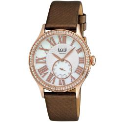 Burgi Women's Swiss Quartz Diamond Brown Strap Watch