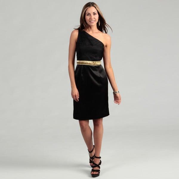 Lotus Grace Women's Black Braid-embellished Dress