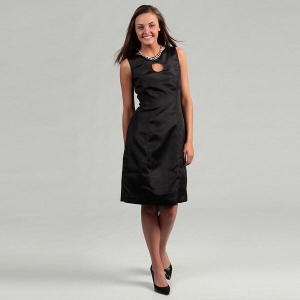 Lotus Grace Women's Black Keyhole Sheath Dress