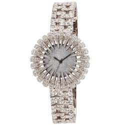 Burgi Women's Dazzling Crystal Silvertone Quartz Watch