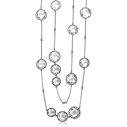 Collette Z Sterling Silver Clear Crystal Quartz Round Station 32-inch Necklace